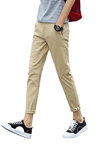 Plaid&Plain Men's Slim Fit Stretch Casual Khaki Pants Cropped Chinos Flood Pants Khaki 30
