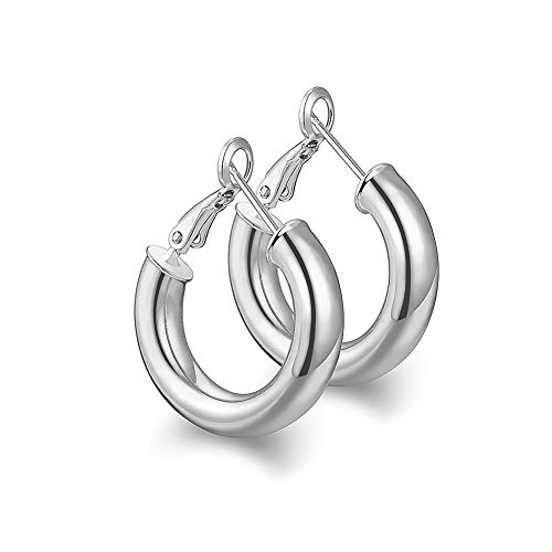 wowshow Thick Hoop Earrings Howllow 14K Gold Plated Gold Hoops for Women