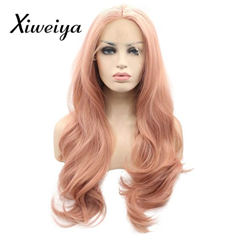 peach red Wigs For Women Rosie Whiteley Hairstyle Rose Gold Pastel Pink Wig Girls Synthetic Lace Front Wig With Heat Resistant Hot Sale -
