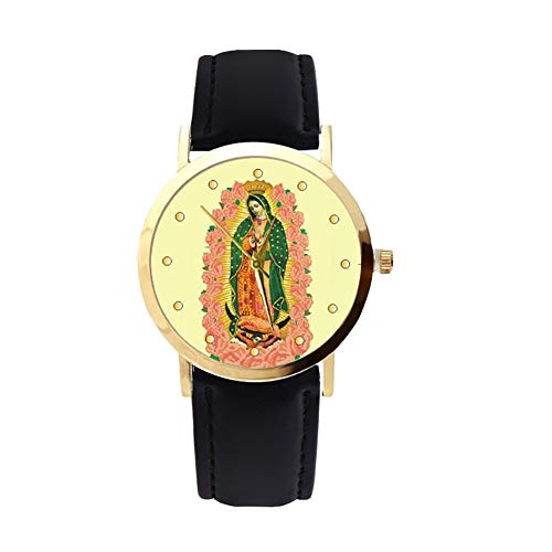 lightclub Christian Virgin Mary Flower Round Dial Faux Leather Strap Women Wristwatch - Black by lightclub (Image #9)