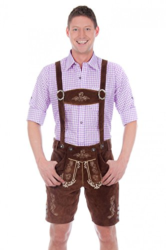 Bavarian-traditional-leather-trousers-Lederhosen-with-suspenders-darkbrown
