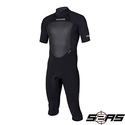 Mystic Star (2016 Mystic Star 3/2mm Flatlock Back Zip Shorty Black 140180/150660 Wetsuit Sizes - Large)