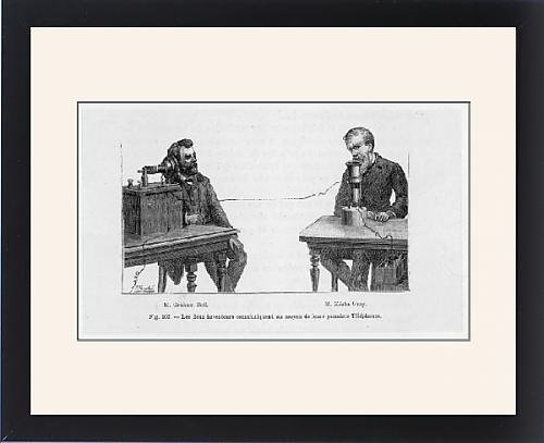 Framed Print Of Telephone/bell a Gray - Alexander Graham Bell Elisha Gray