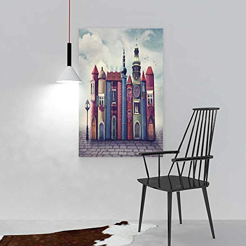 aolankaili Paintings of Decorative Frameless Magic City with Old Books Restaurant Bedroom Painting W16 x H24