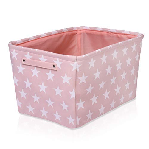 Pink Star Canvas Storage Basket Box for Household Storage with White Stars. 16.5in x 12.5in x 7.5in