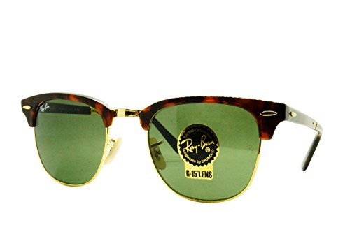 Ray-Ban RB2176 990 Unisex Foldable Clubmaster Sunglasses, Red Havana/Crystal Green, - Ray Clubmaster Sizes Ban Frame