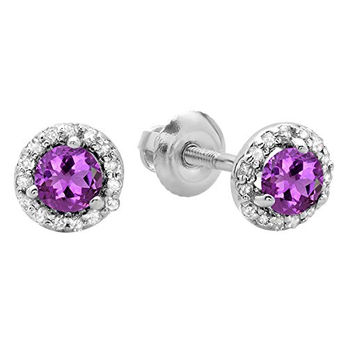 0.50 Carat (ctw) 14K White Gold Round Purple Amethyst & White Diamond Ladies Halo Stud Earrings 1/2 ()