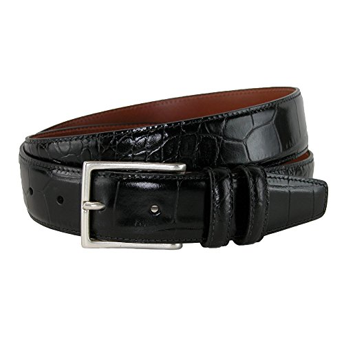 CrookhornDavis Dress Belt for Men, Tanned Leather Accessories (Crocodile), 40, Black