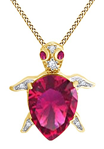 AFFY Pear Shape Simulated Ruby & White Cubic Zirconia Turtle Pendant in 14k Yellow Gold Over Sterling Silver