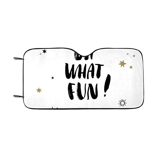 Inspirational Durable Car Sunshade,Oh What Fun Typography with Star Shapes Celebration Party Themed Print for car,55