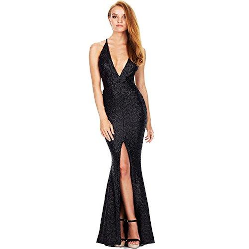 GETSRING Women Retro Formal Cocktail Party Dress Shining Women Bling Backless Evening Party Dress Long Dress