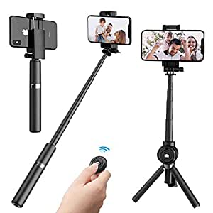 Bluetooth Selfie Stick,2 in 1 Extendable Mini Pocket Selfie Stick Tripod with Wireless Remote for iPhone XS Max/XR/XS/X/8/7/6/Plus, Galaxy S9/S9 Plus/Note 8/S8, 4-6.5 inch Smartphones