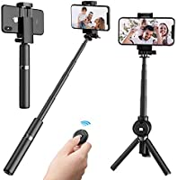 2 in 1 extendable selfie stick tripod with wireless remote