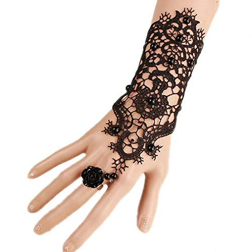 Hiuwa 1 Pc Women Vintage Steampunk Style Sexy Lace Fingerless Long Gloves Trend Personality Lace Hollow-Out Chain Pearl Bracelet Skid Resistant Gloves Gothic Party Costumes Black 01]()