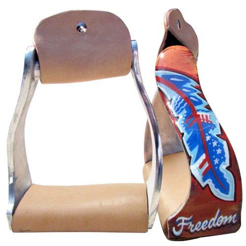 Showman Lightweight Twisted Angled Aluminum Stirrups w/Freedom Feather Design! New Horse TACK!