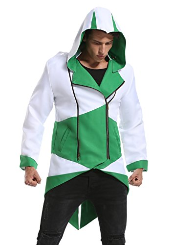 Assassin Creed 3 Costumes For Kids (LIME FLARE Cosplay Costume Hoodie/ Jacket/ Coat for Adult and Child White and Green m)