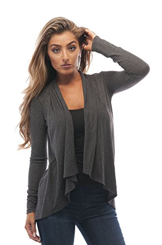 Long Sleeve Cascade Open Cardigan Sweater (Small, Charcoal)