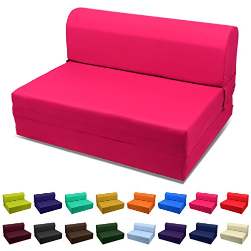 (Magshion Futon Furniture Sleeper Chair Folding Foam Bed Choose Color & Sized Single,Twin or Full (Twin (5x36x70), Hot Pink))