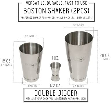 15 Piece Bartender Kit – Complete Mixology Cocktail Shaker Set for Professional Bartending w PDF Home Bar Training Course Essential Bar Tools Wine Accessories – Boston Shaker, Muddler, Jigger