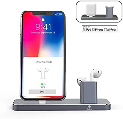half off 78781 0a629 Amazon.com: Charge Dock Compatible AirPods, Stouchi [Update Version ...