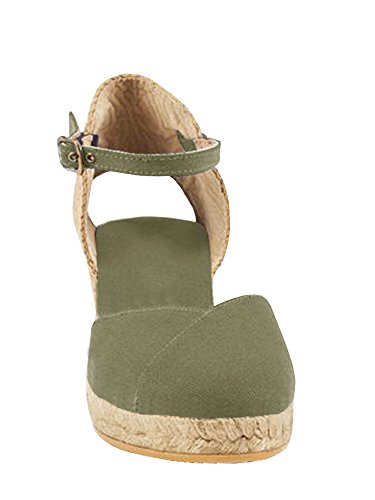 Closed Womens up Espadrille Lace Army Strap Sandals Ermonn Sandals Platform Wedge Toe Green Ankle dIqcRU