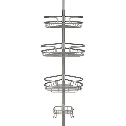 Richards Homewares Bathtub Shower Tension Corner Pole Caddy – Satin Nickle- Stylish Design with 3 Baskets with soap dish - 10.5 x 9.5 x 108