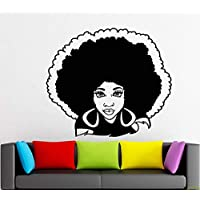 Afro Wall Art Decals Decor - Afro American African Girl Hair Black Women Salon Stickers - Afro Decorations Pictures Posters Motivational Inspirational Quotes AA063
