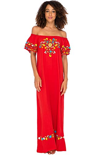 Back From Bali Womens Off Shoulder Long Mexican Embroidered Dress Maxi Boho Floral Summer Peasant Dress Red X-Large