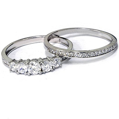 5/8 Carat Vintage Real Diamond Engagement Wedding Ring Set White Gold