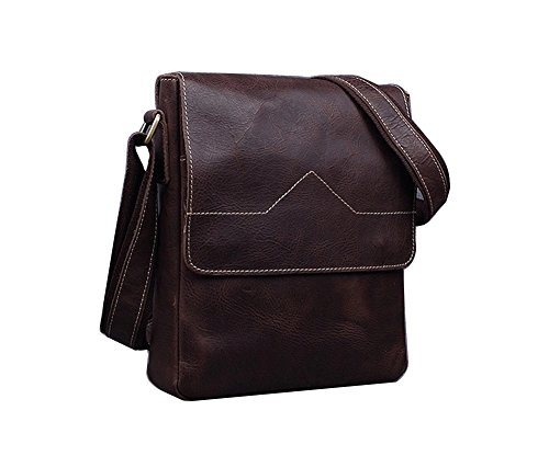 Genda 2Archer Bolso de Hombro de Cuero Hecho a mano de los Hombres Bolso de 10 Pulgadas del iPad (27cm * 7cm * 23cm) (Marron Oscuro) Marron Oscuro