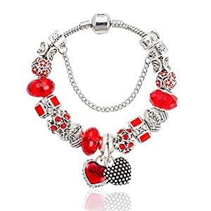 Red glass diamond beads bracelt sl 24