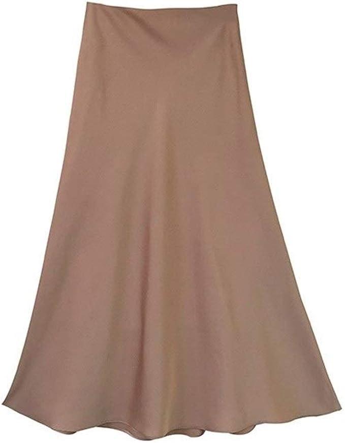 Falda de seda satinada de cintura alta para mujer, de la marca A ...