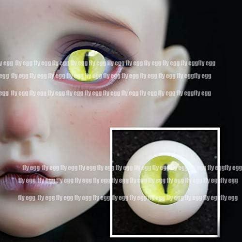 アリスの人形屋黄色東 Bjd 人形の目模擬猫眼球 1/3 1/4 1/6 bjd 人形 14 ミリメートル 16 ミリメートル 18 ミリメートル 20 ミリメートル 22 センチメートル印刷アクリル目人形