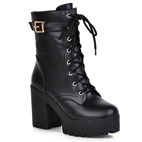 HiTime Ladies High Block Heels Martin Boots Calf Oxford Shoes Teens Girls Combat Boots Black IilnDi3k