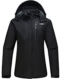 Women's Detachable Hood Waterproof Fleece Lined Parka Windproof Ski Jacket