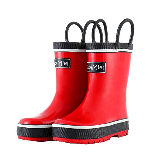CasaMiel Kids Rain Boots for Boys Toddler Rain Boots for Girls, Handmade Natural Rubber Boots for Children (Kids Rain Rubber For Boots)