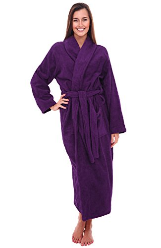 Del Rossa Women's Turkish Terry Cloth Robe, Long Cotton Bathrobe, Large XL Purple (A0126PURXL)