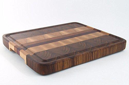 Handcrafted Wood Cutting Boards - End Grain Walnut-Maple-Cherry-PurpleHeart