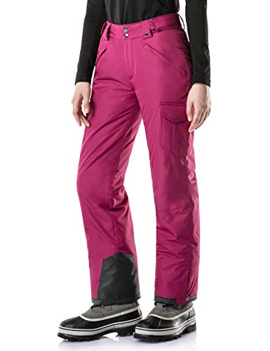 Purple Snow Pants - TSLA Women's Rip-Stop Snow Pants Windproof Ski Insulated Water-Repel Bottoms, Snow Cargo(xkb92) - Plum, Large (Waist:29.5~31.5,Hips:43.5~44.5 Inch)