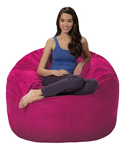 Comfy Sacks 4 ft Memory Foam Bean Bag Chair, Magenta Microsuede ()