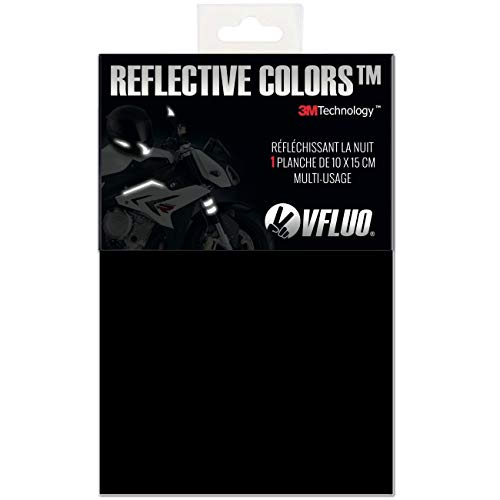 VFLUO 3M REFLECTIVE COLORS, Universal adhesive DIY kit for Helmet/Motorcycle/Scooter/Bike, 3M Technology, 10 x 15 cm sheet, Black ()