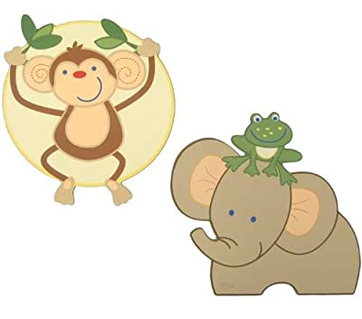 Nojo 2 Piece Wooden Wall Art Jungle Babies from NoJo