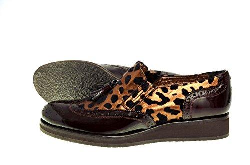 E Scarpe Leopardo Con Donne Piattaforma Brevetto Vitelo Leopardo Stampa Stampa F111 Delle Bronzo Brogue Pelle Tassell In E Marrone wprHqx1w