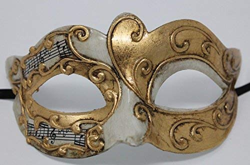 Mask Mask & Co Mens or Women's Ivory & Gold Musical Notes/Script Venetian Masquerade Party Ball Eye