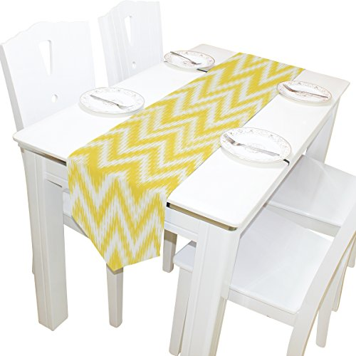 ALAZA Table Runner Home Decor, Summer Yellow Ikat Chevron Table Cloth Runner Coffee Mat for Wedding Party Banquet Decoration 13 x 70 inches ()