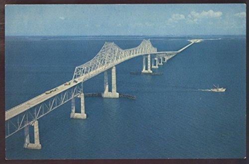 (AERIAL VIEW Sunshine Skyway Florida Tampa Bay Bridge Postcard)
