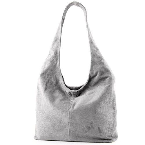 Bolso modamoda T150 hombro de Bolso de ital Wildleder Damentasche de Grau hombro cuero Bolso de XqrXOf