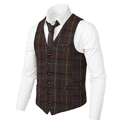 VOBOOM Men's Slim Fit Herringbone Tweed Suits Vest Premium Wool Blend Waistcoat (Plaid Coffee, M) ()