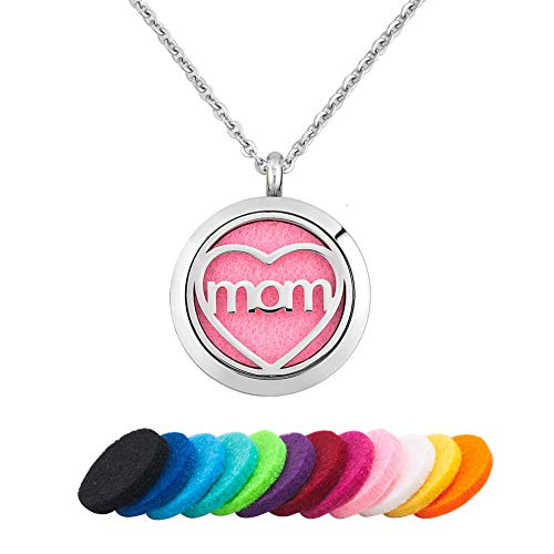 (Moonlight Collection MOM Heart Scented Locket Pendant Essential Oil Diffuser Necklace Aromatherapy Jewelry + Refills )