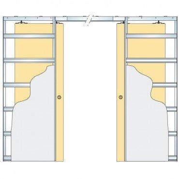 Eclisse Sliding Pocket Door System   Double Doors   To Suit 100mm Wall  Thickness   Door